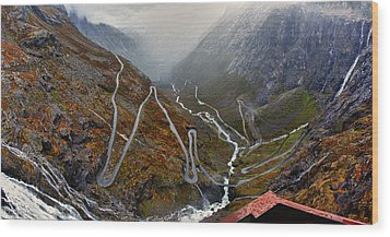Trollstigen Wood Print by A A