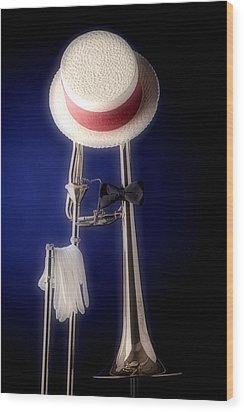 Trombone Hat Bow Tie Wood Print by M K  Miller