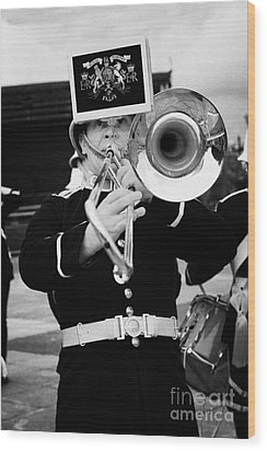 trombone player of the band of HM Royal Marines Scotland at Armed Forces Day 2010 Wood Print by Joe Fox