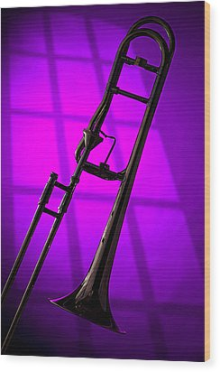 Trombone Silhouette On Purple Wood Print by M K  Miller