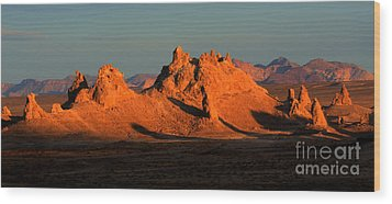 Trona Pinnacles Panorama Wood Print by Bob Christopher