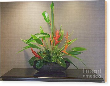 Tropical Arrangement Wood Print by Mary Deal
