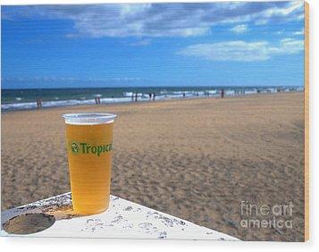 Tropical Beer On The Beach Wood Print by Rob Hawkins
