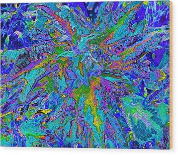 Wood Print featuring the digital art Tropical Foliage - Blues - Digital Artwork by Kerri Ligatich