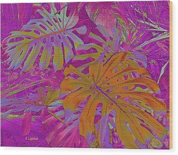 Wood Print featuring the digital art Tropical Foliage - Pink by Kerri Ligatich