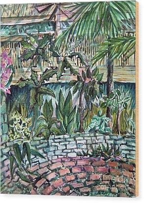 Tropical Garden Wood Print by Mindy Newman