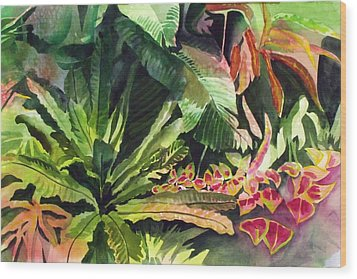 Wood Print featuring the painting Tropical Garden by Richard Willows
