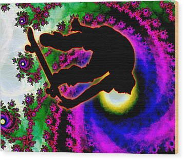 Tropical Hurricane Eye With Skateboarder Wood Print by Elaine Plesser