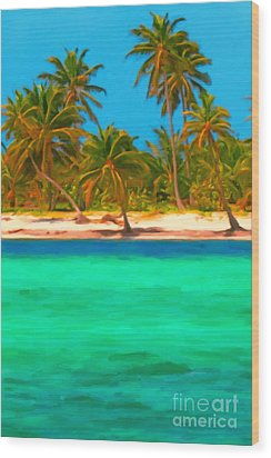 Tropical Island 5 - Painterly Wood Print by Wingsdomain Art and Photography