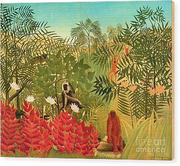 Tropical Jungle By Henri Rousseau Wood Print by Pg Reproductions