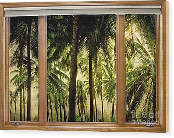Tropical Jungle Paradise Window Scenic View Wood Print by James BO  Insogna