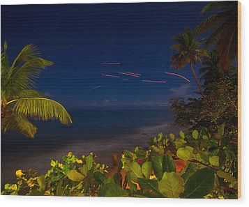 Tropical Night Wood Print by Tim Fitzwater
