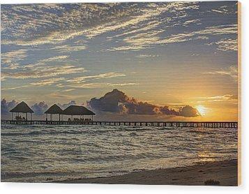 Tropical Ocean Sunset Wood Print