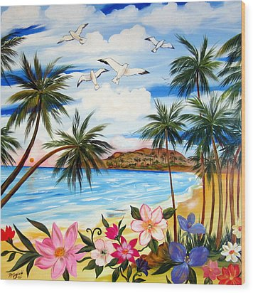 Wood Print featuring the painting Tropical Paradise by Roberto Gagliardi
