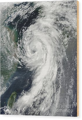 Tropical Storm Dianmu Wood Print by Stocktrek Images
