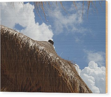 Tropical Straw Umbrella Wood Print by Kimberly Perry