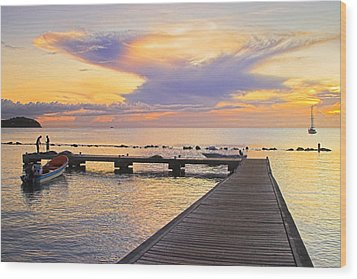 Wood Print featuring the photograph Tropical Sunset- 4- St Lucia by Chester Williams