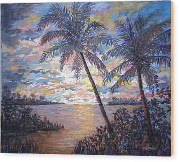 Wood Print featuring the painting Tropical Sunset by Lou Ann Bagnall