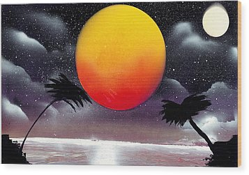 Tropical Sunset Wood Print by Marc Chambers