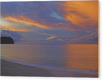 Wood Print featuring the photograph Tropical Sunset- St Lucia by Chester Williams