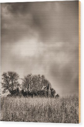 Trouble Brewing II Bw Wood Print by JC Findley