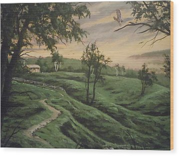 Wood Print featuring the painting Troy Hill Farm by James Guentner