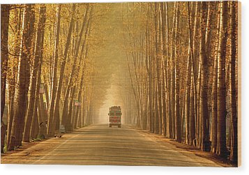 Truck In Golden Tunnel Wood Print by PKG Photography