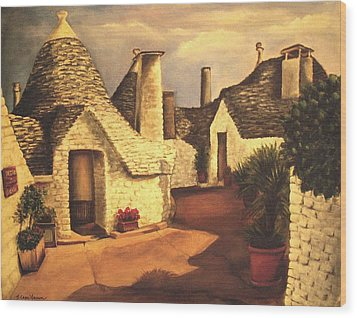 Trulli 2 Wood Print by Sarah Farren