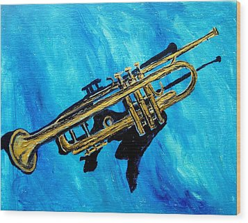 Wood Print featuring the painting Trumpet by Amanda Dinan