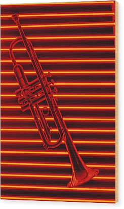 Trumpet And Red Neon Wood Print by Garry Gay