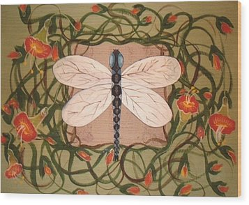 Trumpet Vine With Dragonfly Wood Print