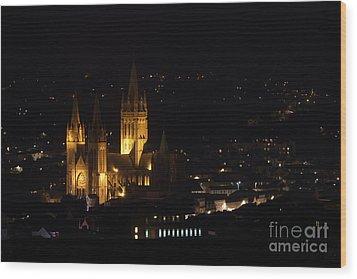 Truro Cathedral Illuminated Wood Print by Brian Roscorla