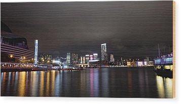 Tsim Sha Tsui - Kowloon At Night Wood Print by Enrique Rueda