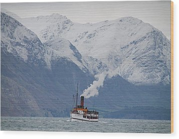 Tss Earnslaw Steamboat Against The Southern Alps Wood Print by Laurel Talabere