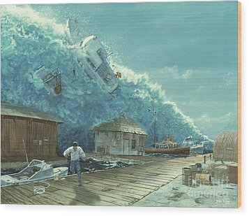 Tsunami Wood Print by Chris Butler and Photo Researchers