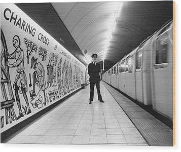 Tube Train Murals Wood Print by Evening Standard