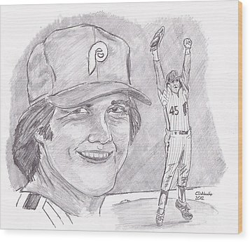 Tug Mcgraw Wood Print by Chris  DelVecchio