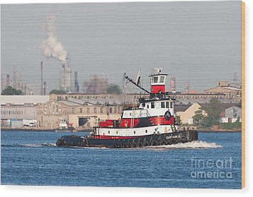 Tugboat Captain D In Newark Bay I Wood Print by Clarence Holmes