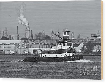 Tugboat Captain D In Newark Bay II Wood Print by Clarence Holmes