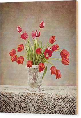 Wood Print featuring the photograph Tulip Bouquet by Cheryl Davis