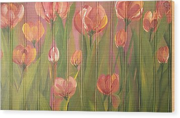 Wood Print featuring the painting Tulip Field by Kathy Sheeran
