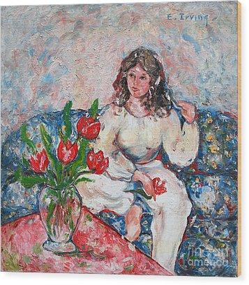Tulip Girl Wood Print by Elena Irving