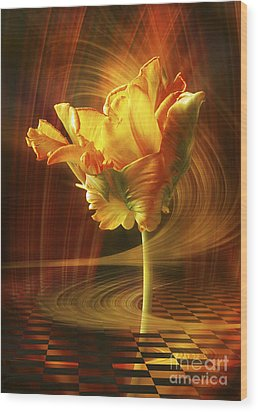 Tulip In Movement Wood Print