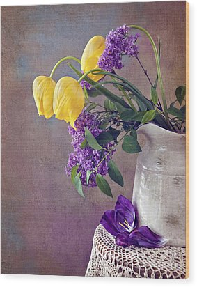 Wood Print featuring the photograph Tulips And Lilac Still Life by Cheryl Davis