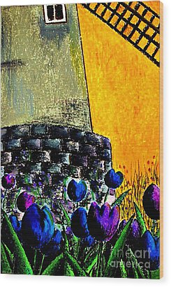 Tulips By The Mill Wood Print by Aisa  Mijeno