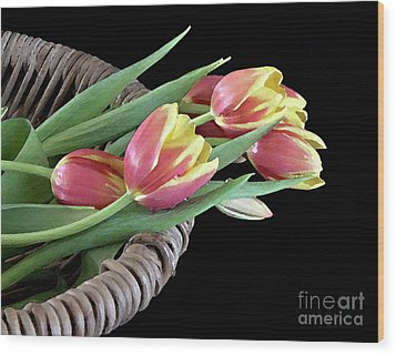 Wood Print featuring the photograph Tulips From The Garden by Sherry Hallemeier