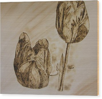 Tulips In Sepia Wood Print by Maureen Hargrove