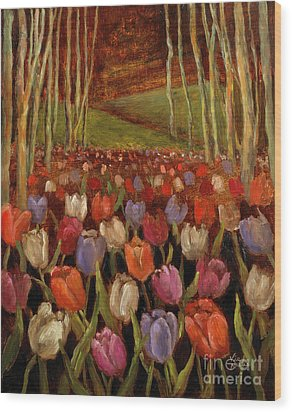 Tulips In The Woods Wood Print by Vic  Mastis