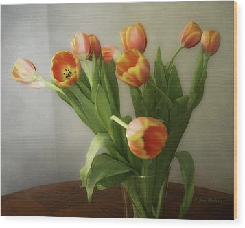 Wood Print featuring the photograph Tulips by Joan Bertucci