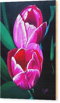 Tulips Wood Print by Karen Casciani